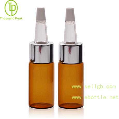 TP-2-55 10ml 透明棕色 精华素瓶配进口材质喇叭头 带电化铝中套